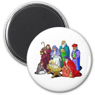 Colorful Christmas Nativity Scene Magnet