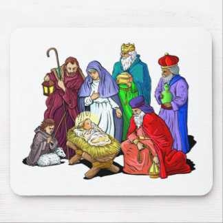 Colorful Christmas Nativity Scene Mouse Pad