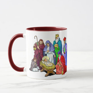 Colorful Christmas Nativity Scene Mug