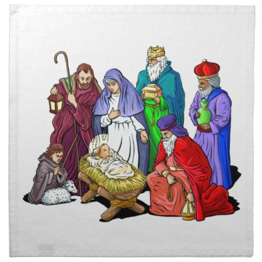 Colorful Christmas Nativity Scene Napkin