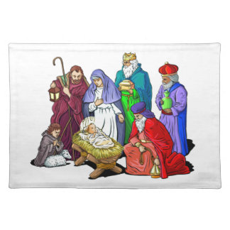Colorful Christmas Nativity Scene Placemat