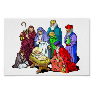 Colorful Christmas Nativity Scene Poster