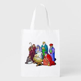 Colorful Christmas Nativity Scene Reusable Grocery Bag
