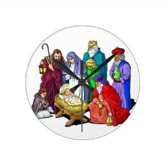 Colorful Christmas Nativity Scene Round Clock