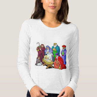 Colorful Christmas Nativity Scene Tees