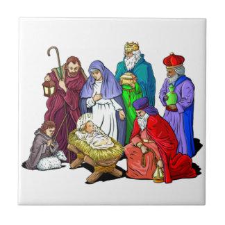 Colorful Christmas Nativity Scene Tiles