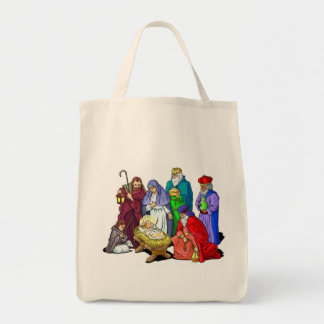 Colorful Christmas Nativity Scene Tote Bag