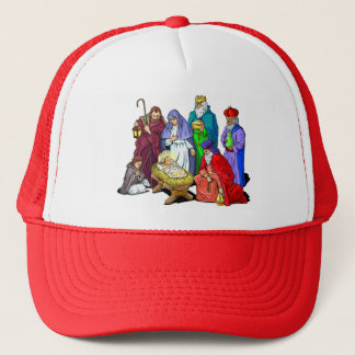 Colorful Christmas Nativity Scene Trucker Hat