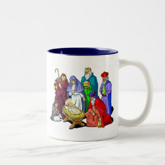 Colorful Christmas Nativity Scene Two-Tone Coffee Mug