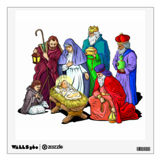 Colorful Christmas Nativity Scene Wall Sticker