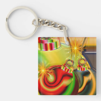 Colorful Christmas Ornament Mirrored Decoration Keychain