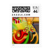 Colorful Christmas Ornament Mirrored Decoration Postage Stamp