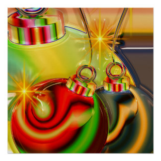 Colorful Christmas Ornament Mirrored Decoration Poster