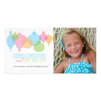 Colorful Christmas Ornaments Holiday Card Customized Photo Card