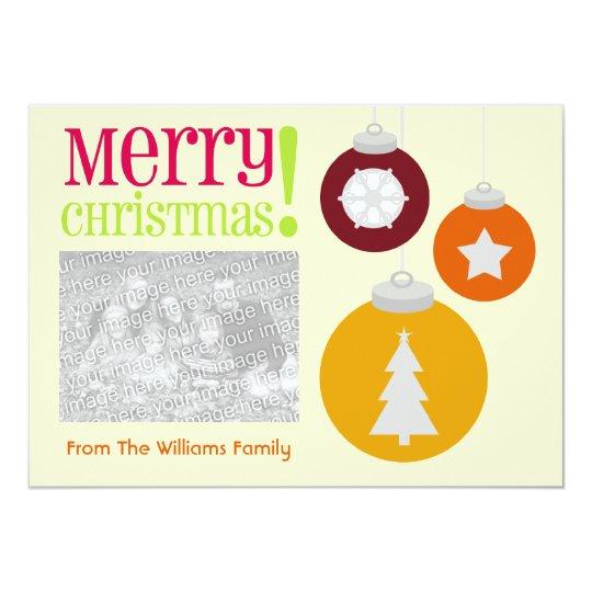 Colorful Christmas Ornaments Photo Invite
