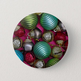 Colorful christmas ornaments pinback button