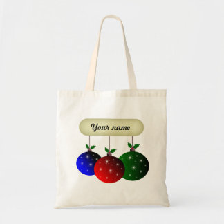 Colorful Christmas ornaments with snowflakes Budget Tote Bag