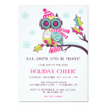 """Colorful Christmas Owl Holiday Party Invitation 5"""" X 7"""" Invitation Card"""