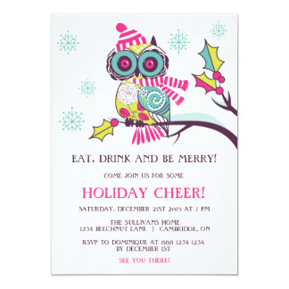 Colorful Christmas Owl Holiday Party Invitation