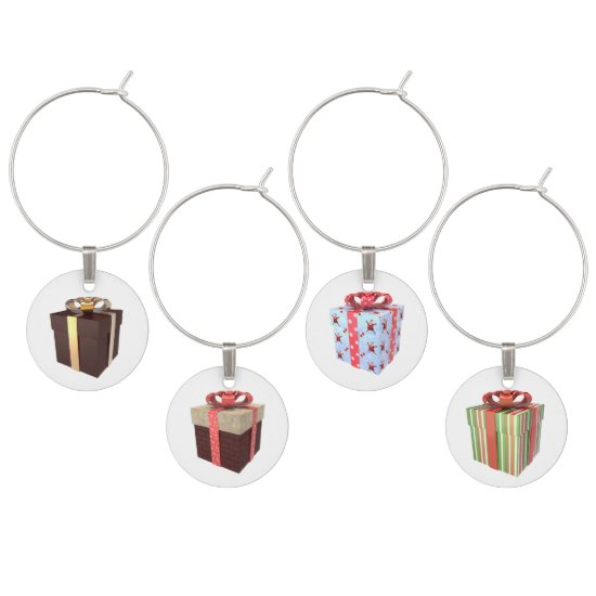 Colorful Christmas Packages Wine Charms