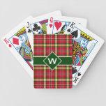 Colorful Christmas Plaid Monogram Playing Cards