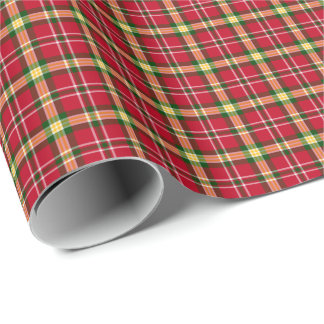 Colorful Christmas Plaid Pattern Wrapping Paper