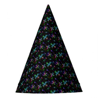 Colorful Christmas Snowflakes On Black Party Hat