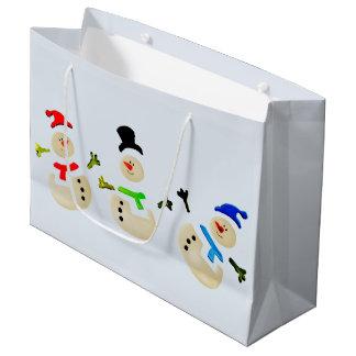 Colorful Christmas Snowman Parade Large Gift Bag