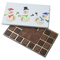 Colorful Christmas Snowman Parade 45 Piece Box Of Chocolates
