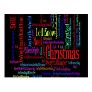 Colorful Christmas Songs Postcard