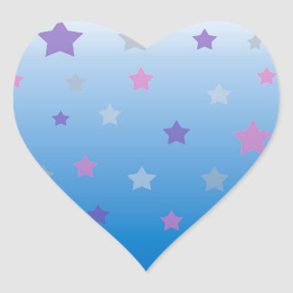 Colorful christmas stars on blue background heart sticker