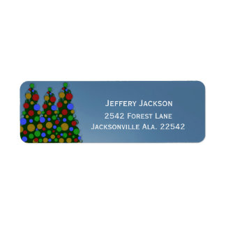 Colorful Christmas Tree Address Labels