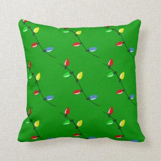Colorful Christmas Tree Bulb Lights Custom Throw Pillow