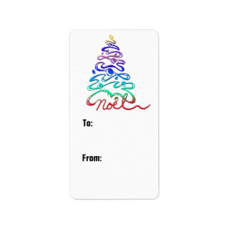 Colorful Christmas Tree Gift Label