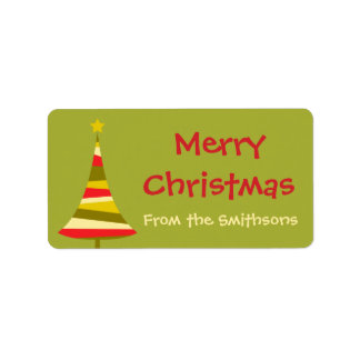 Colorful Christmas Tree Gift Labels or Tags