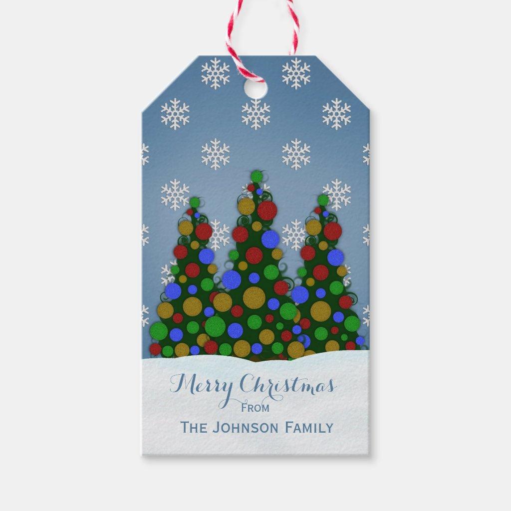 Colorful Christmas Tree Gift Tags