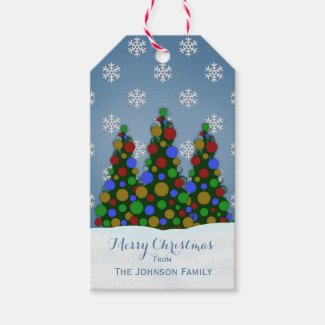 Colorful Christmas Tree Gift Tags