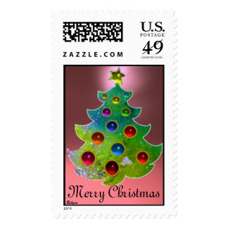 COLORFUL CHRISTMAS TREE IN GREEN GOLD SPARKLES POSTAGE