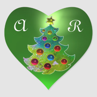COLORFUL CHRISTMAS TREE IN GREEN GOLD SPARKLES HEART STICKERS
