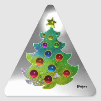 COLORFUL CHRISTMAS TREE IN GREEN GOLD SPARKLES TRIANGLE STICKERS