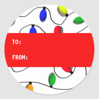 Colorful Christmas Tree Lights Classic Round Sticker