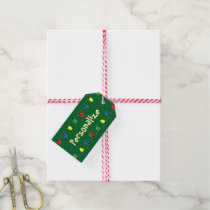 Colorful Christmas tree lights gift tag labels