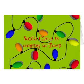 Colorful Christmas Tree Lights Greeting Card