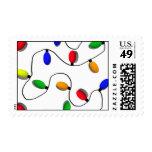 Colorful Christmas Tree Lights Postage Stamp