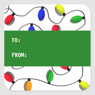 Colorful Christmas Tree Lights Square Sticker