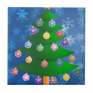 Colorful Christmas Tree on Blurred Snowflakes Ceramic Tile
