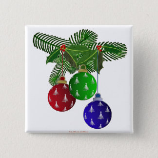 Colorful Christmas Tree Ornaments Button