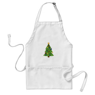 Colorful Christmas Tree with Ornaments and Star Adult Apron