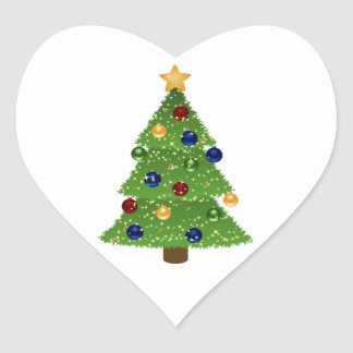 Colorful Christmas Tree with Ornaments and Star Heart Sticker