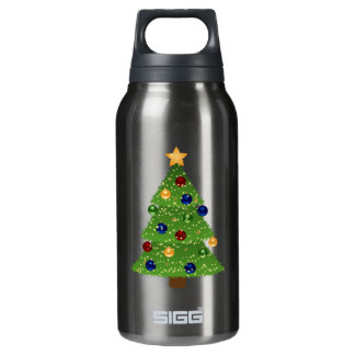 Colorful Christmas Tree with Ornaments and Star Insulated Water Bottle